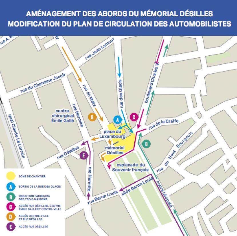 Nancy : un nouveau plan de circulation à compter de mercredi aux abords du Mémorial Désilles